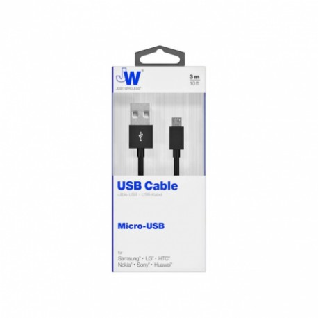 Just Wireless 3m 10ft Long Micro USB Cable