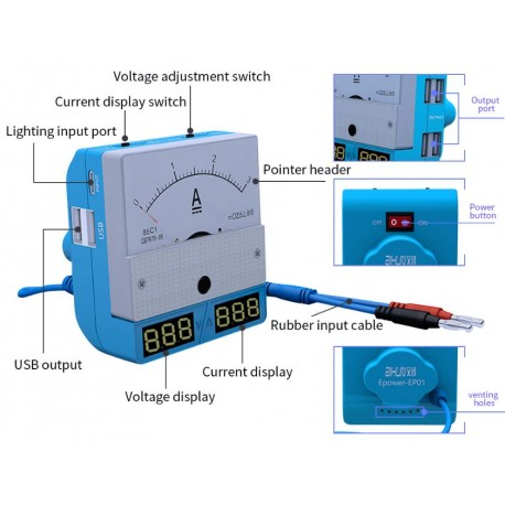 JC Aixun Intelligent Maintenance 3A Power Meter Epower-EP01
